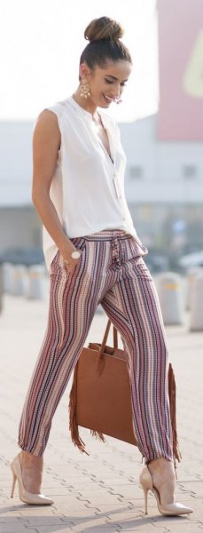 striped linen trousers with high heels