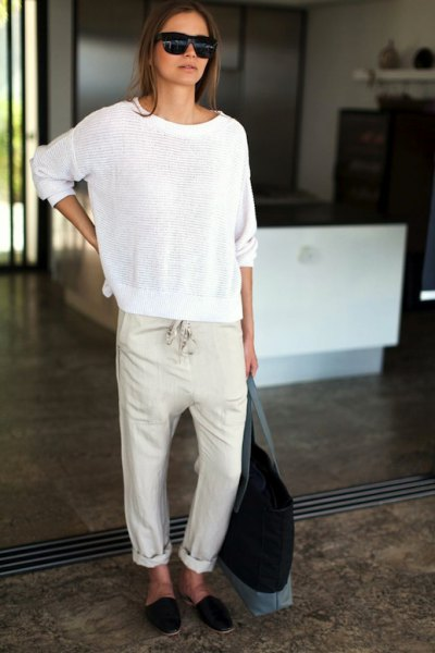 cuffed linen trousers comfy sweater