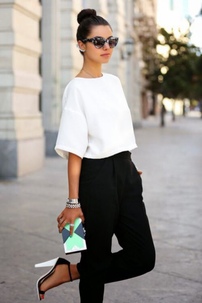 drop shoulder white top high waist black harem pants