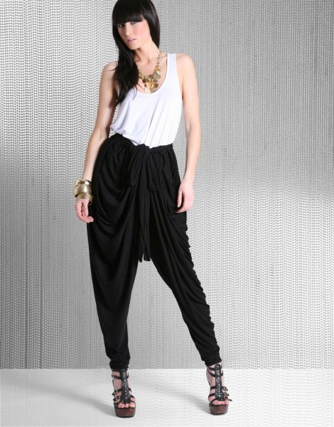 black harem pants white vest top outfit