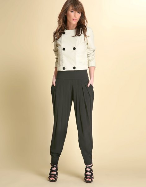 wool white black harem pants