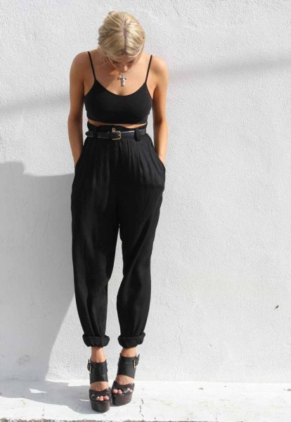 high waist harem pants black bra top