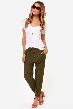 white tee olive harem pants