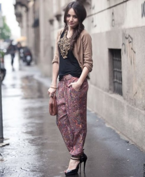 harem pants black vest top green cardigan