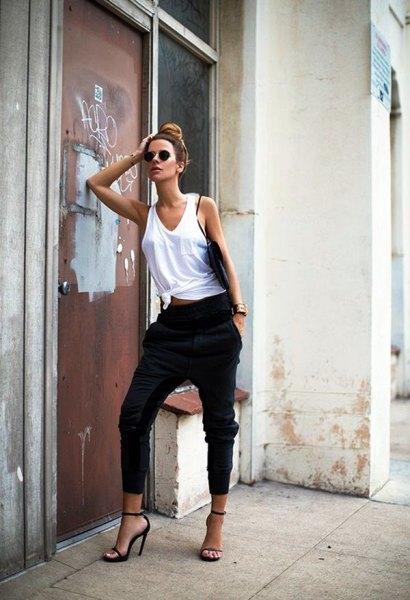 white tank top black harem pants