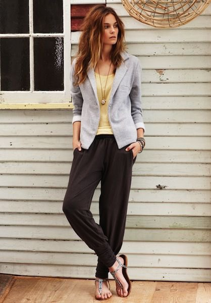 black harem pants gray blazer yellow vest top