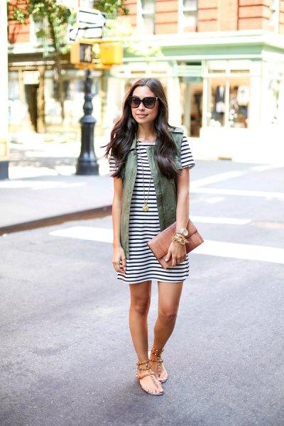 horizontal striped t-shirt dress cargo vest