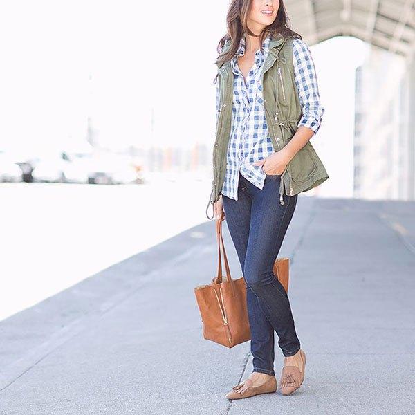 plaid boyfriend shirt cargo vest jeans