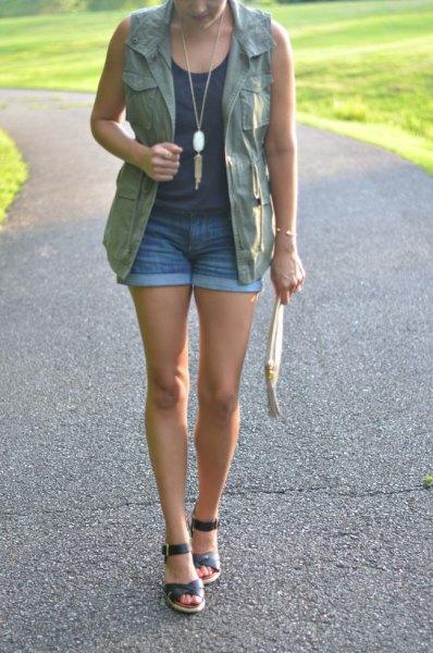 cargo vest denim shorts vest top