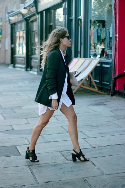 white shirt dress forest green blazer heeled sandals