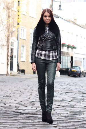 black cropped leather jacket forest jeans