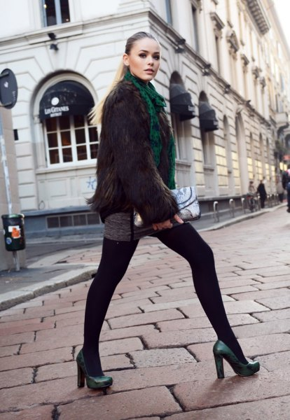 forest green faux fur sweater