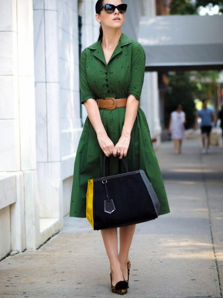 green knee length dress brown belt