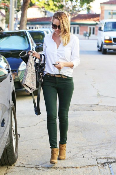 white button up shirt green pants