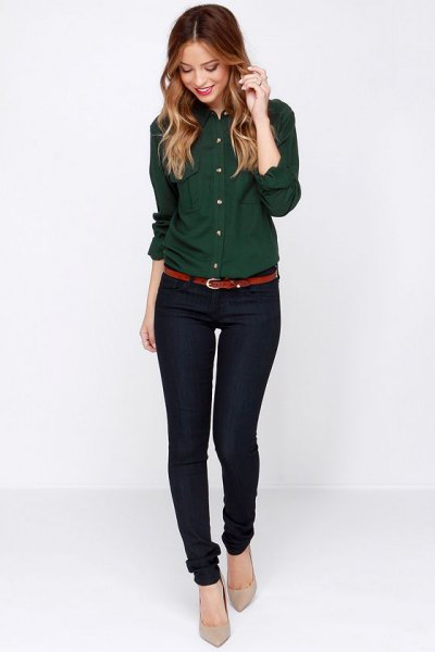 long sleeve forest green shirt black skinny pants