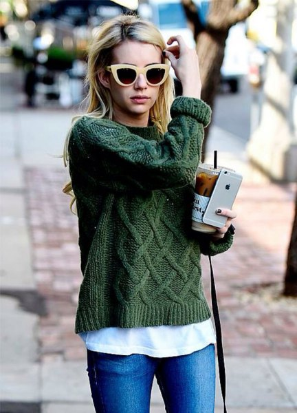 green cable knitted sweater white tee jeans