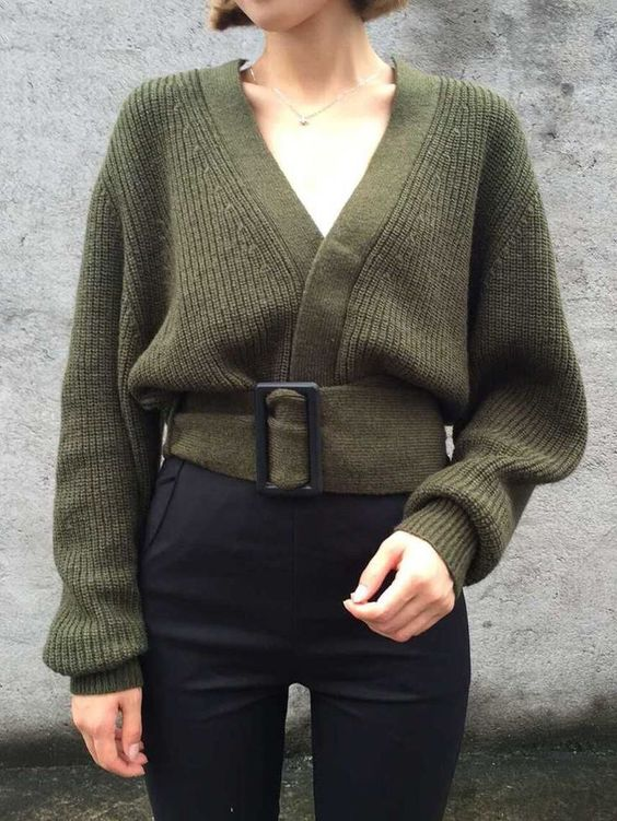 sweater with v-neck olive green