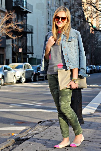 denim jacket camo pants outfit