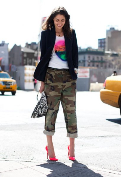 cropped camo pants black balzer