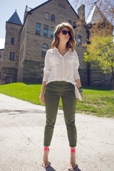 semi pure white shirt cropped army pants