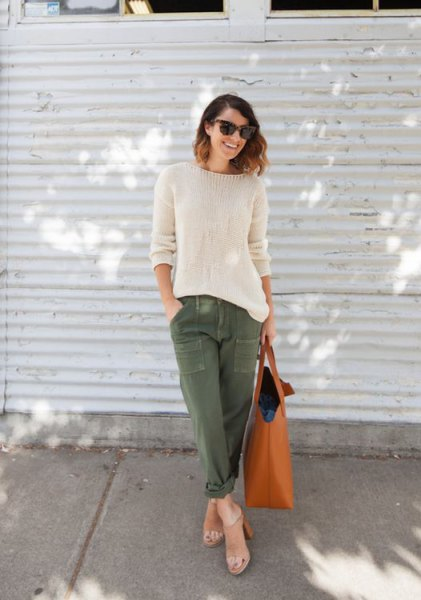 white knitted sweaters army trousers bare heels