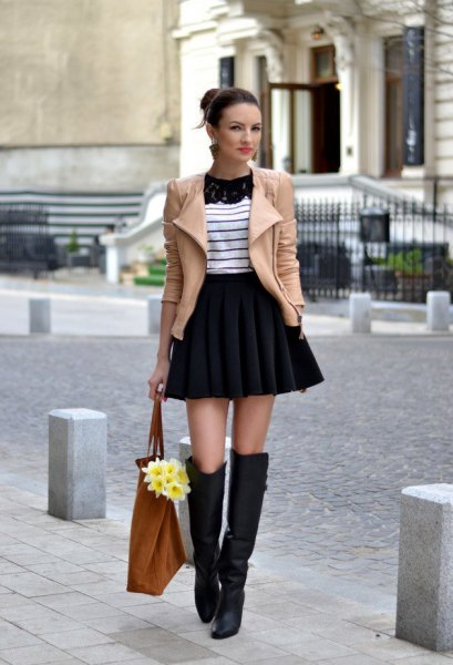 high waist mini flare skirt in winter