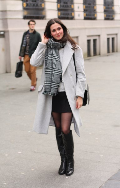 black mini skirt long trench coat scarf