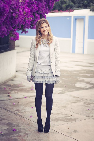 twirly frill skirt blazer black socks