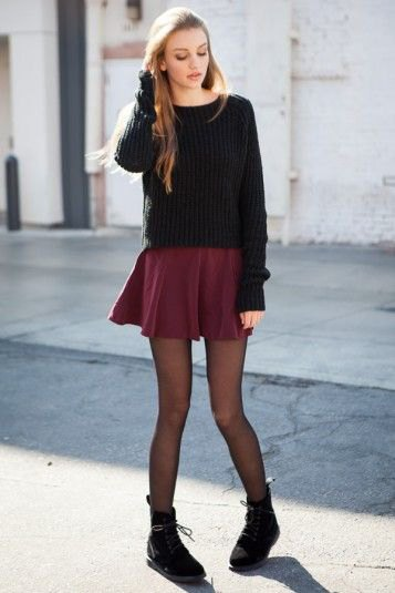 black knitted sweaters mini skirt leggings boots