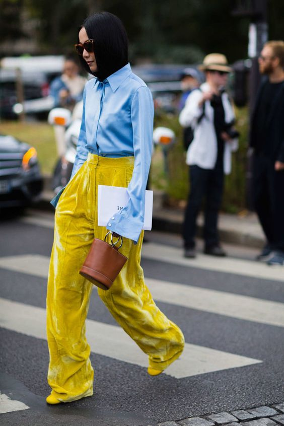 yellow-blue outfit yellow velvet