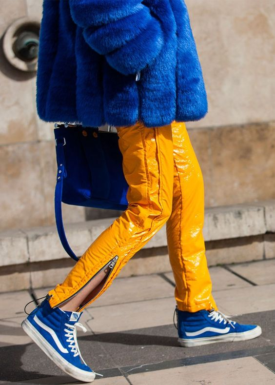 yellow blue outfit vans