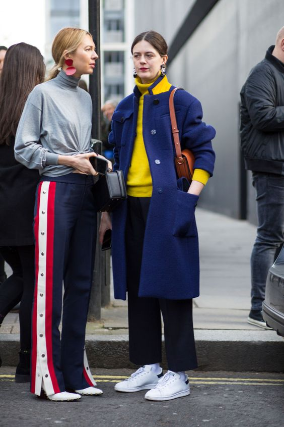 yellow blue outfit blue jacket