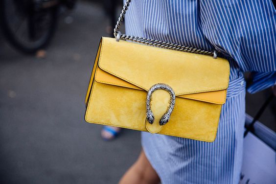 yellow-blue outfit bag gucci