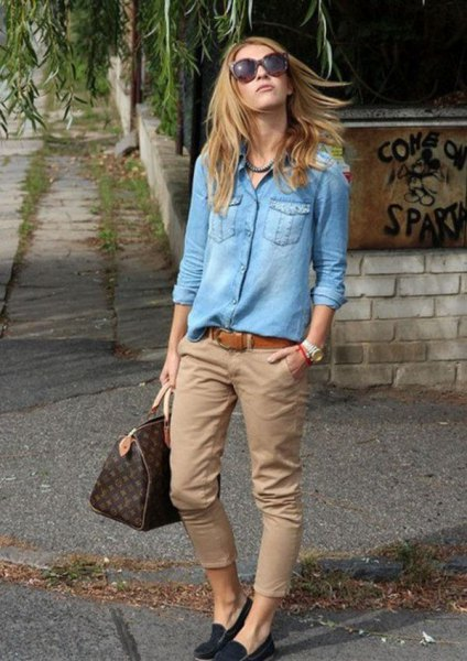denim shirt beige chinos