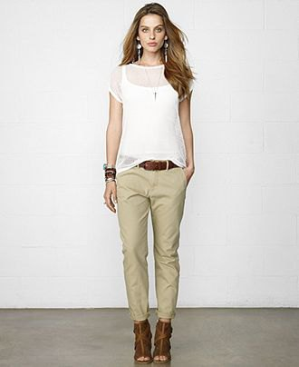 beige chinos white vest top overlay