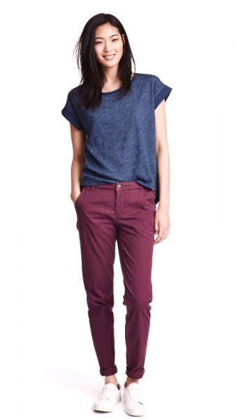 purple tee gray chinos outfit