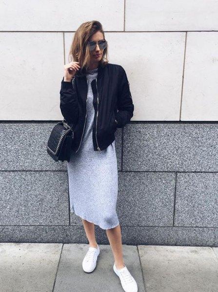 black bomber jacket gray mini sweater dress outfit