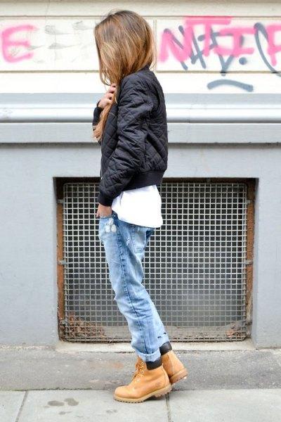 white tee boyfriend jeans chukka boots bomber jacket
