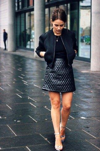 black top bomber jacket leather skirt
