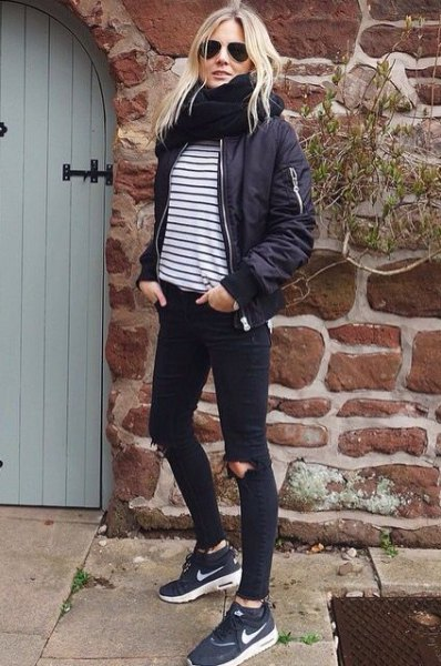 black and white horizontal striped cotton jacket for t-shirt