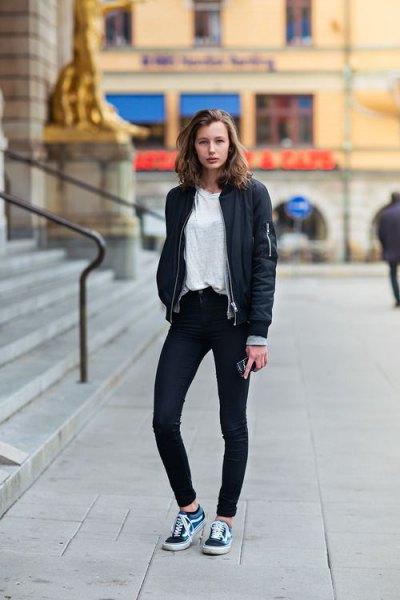 black bomber jacket skinny jeans white tee