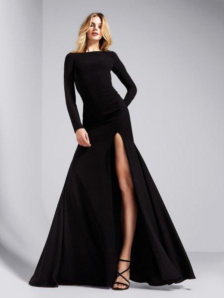 long sleeve split maxi black cocktail dress