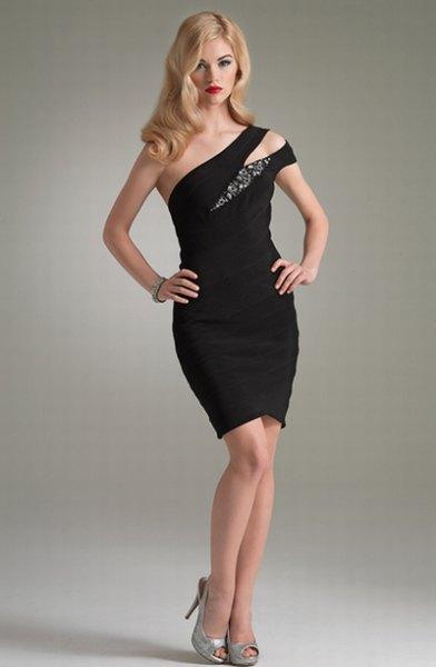a shoulder black cocktail dress