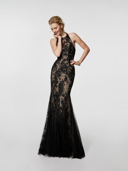 semi sheer black maxi cocktail dress