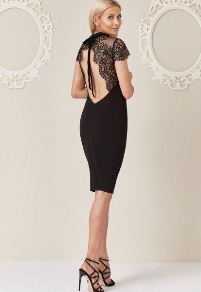 black open back lace dress
