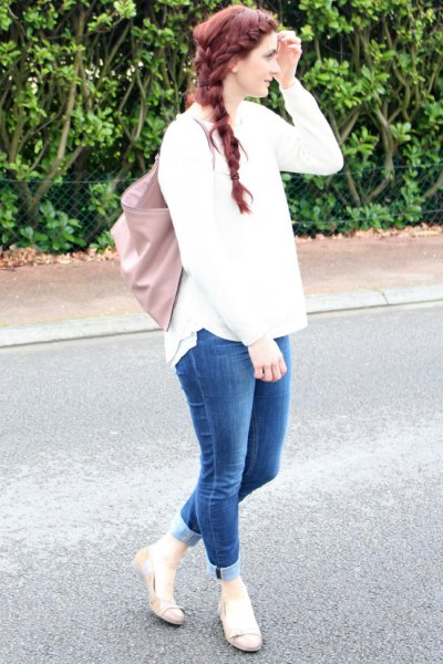 white knitted sweater cuffed jeans pink ballet flats
