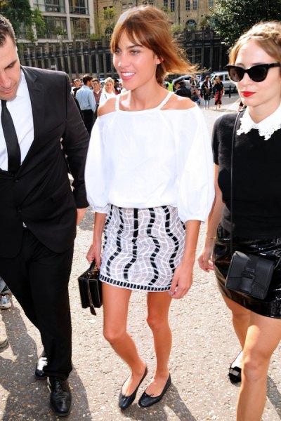 white cold shoulder pencil skirt