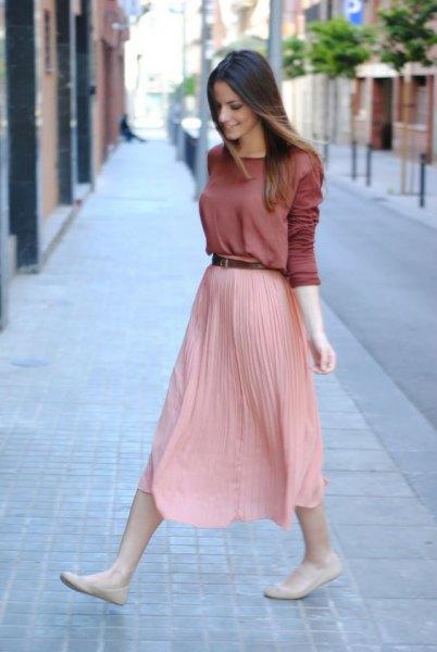 pleaded skirt long sleeve shirt
