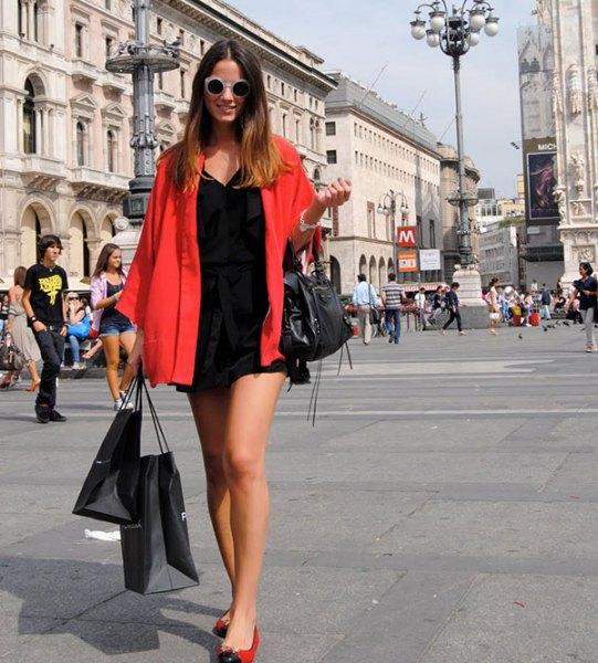 red big shirt black shift dress ballet shoes