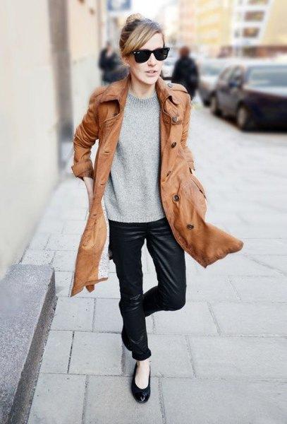 long line brown leather jacket black ballet flats